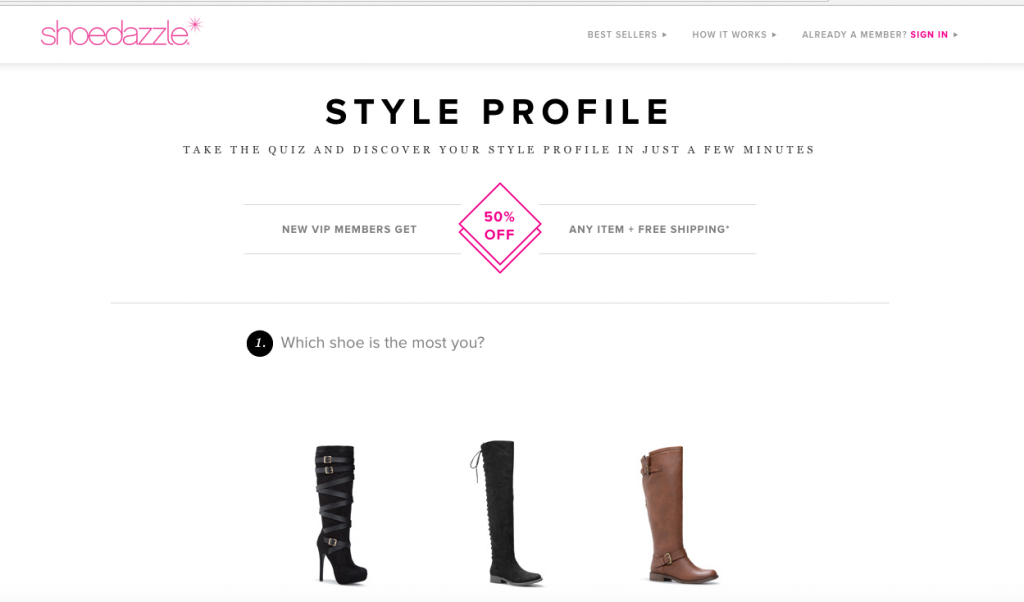 shoedazzle personalization survey