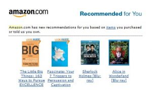 personalization software - Amazon recommendations