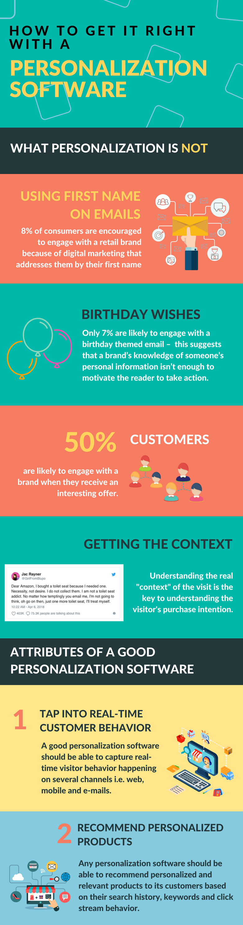 What a personalization software is and what it is not. Find out tips and tricks on how to make it right with an eCommerce personalization software. All on this infographic.