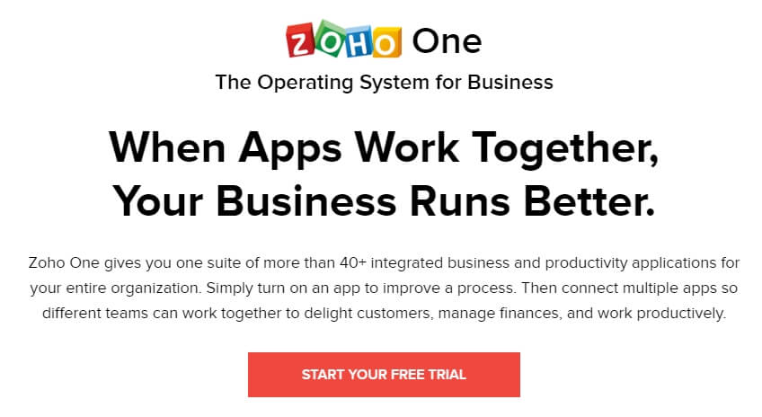 Here is Zoho One. One of the 7 amazing entrepreneur tools that we think every great online merchant should be using to save them time and money.