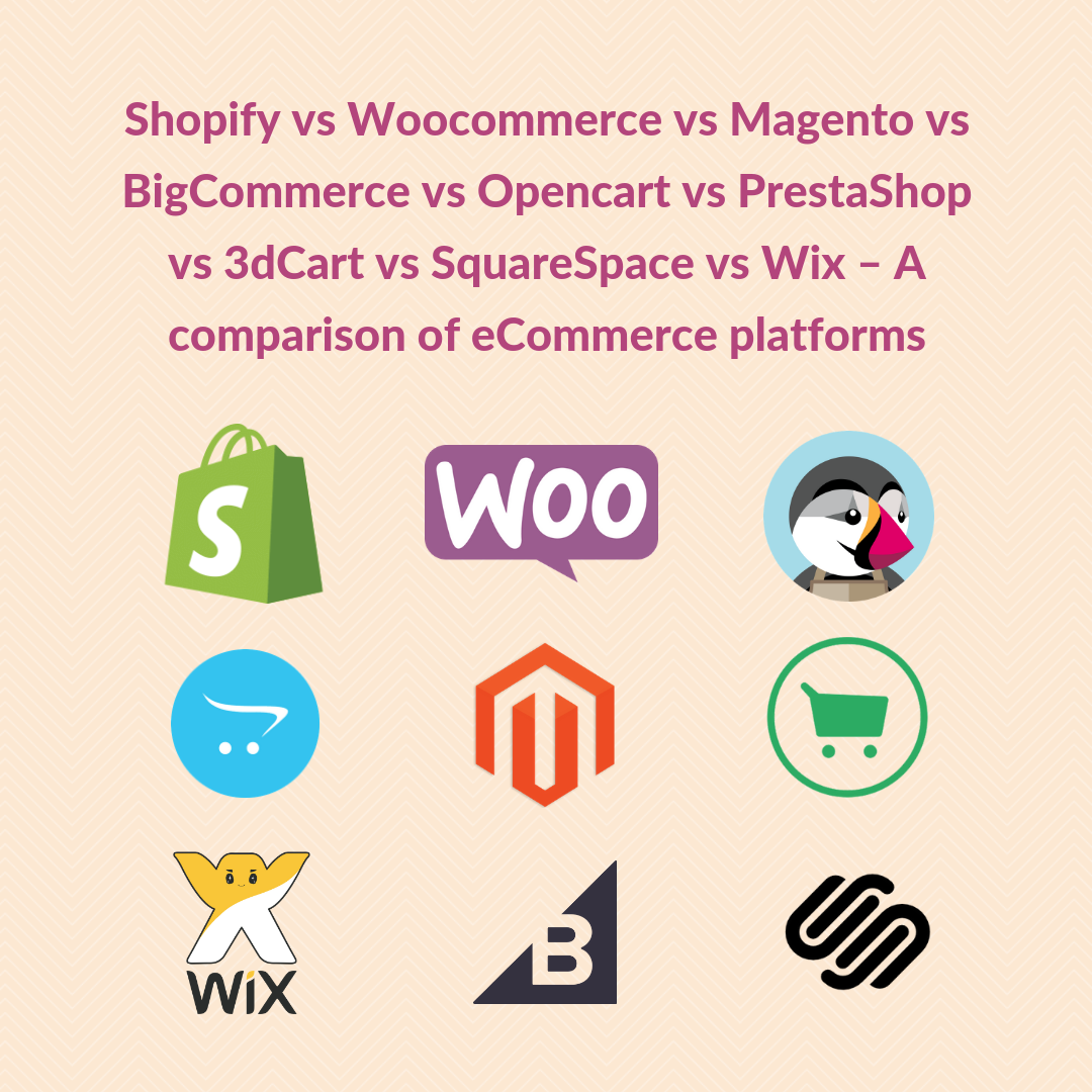Comparison of Magento vs Shopify vs BigCommerce vs Opencart vs PrestaShop vs 3dCart vs SquareSpace vs Wix vs Woocommerce.