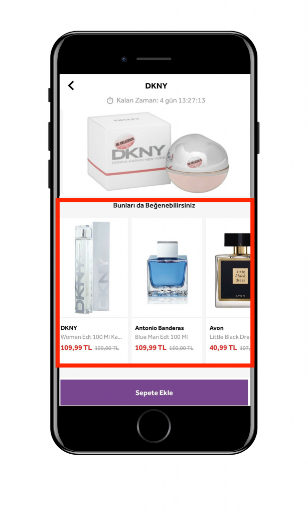 Morhipo.com mobile app page: personalized product recommendations