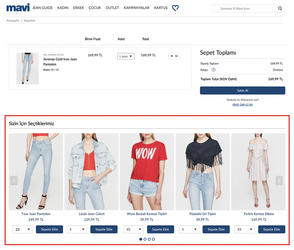 Mavi.com cart page: product recommendations example