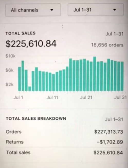 Dropshipping success stories 225K in month2